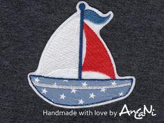 Aufnäher Segelboot ♥ Applikation Boot ♥ maritim von AnCaNi auf DaWanda.com