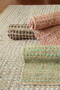 Leather And Hemp Rug - Hemp Area Rug, Leather Rug, Durable Rug | Soft Surroundings Love the sea glass color.