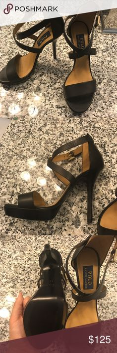 Ralph Lauren Platform Stilettos- Black- size 8 This is a pair of UNWORN- never used Ralph Lauren stilettos! Beautiful Black and Tan leather, gorgeous wrap around enclosure! Perfect for any party! Ralph Lauren Shoes Heels