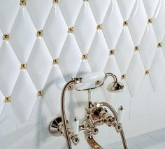 Glamorous bathroom Victorian tiles.