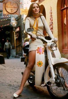 Girl on a scooter (1969). *** you have to love the flower decals. :-)