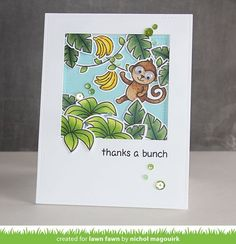 Monkey in the jungle thank you scene card featuring Lawn Fawn stamps and dies. #lawnfawn #crittersinthejungle
