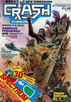 The Rampage cover of Crash a magazine about the ZX Spectrum. This magazine pretty consistently had good original cover illustrations. Games Box, Fun Games, Retro Games, Video Game Art, Video Games, Crash Magazine, Magazine Covers, Gorilla Suit, Computer Magazines