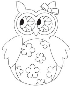 Embroidery Patterns Free Owl Digital stamp from Scrapbook and Cards Today - Grab this cute springtime owl digital stamp from Scrapbook Pattern Coloring Pages, Printable Coloring Pages, Owl Patterns, Embroidery Patterns, Owl Crafts, Paper Crafts, Owl Applique, Owl Art, Digi Stamps