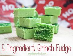 Grinch Fudge- Only 3 real ingredients and food coloring and sprinkles
