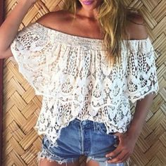 Stylish White Off-The-Shoulder Cut Out Lace Blouse For Women