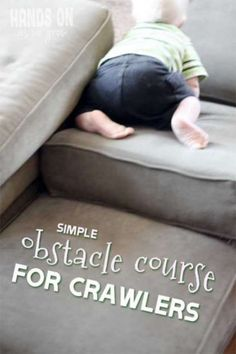 Creating an obstacle course seems kind of crazy to do with a baby… but it really isn't! It's a great way for babies to work on their already building gross motor skills. Indoor Activities For Toddlers, Gross Motor Activities, Gross Motor Skills, Infant Activities, Preschool Activities, 8 Month Old Baby Activities, Work Activities, Toddler Play, Baby Play