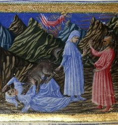Yates_thompson_ms_36_f002r. Detail of a miniature of Dante conversing with Virgil (right) and Dante being attacked by a wolf representing Greed (left); from Dante Alighieri, Divina Commedia, Italy (Siena?), 1444-c. 1450, Yates Thompson MS 36, f. 2r - See more at: http://britishlibrary.typepad.co.uk/digitisedmanuscripts/2013/02/naked-came-the-werewolf.html#sthash.oARuP979.lxrt5YwT.dpuf