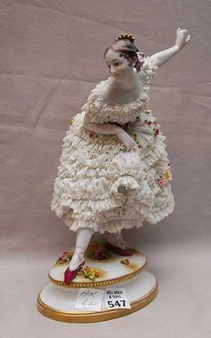 Francois J. China Painting, Ceramic Painting, Porcelain Ceramics, China Porcelain, Dresden China, Ballerina Figurines, Dresden Porcelain, Grace And Lace, Pretty Ballerinas
