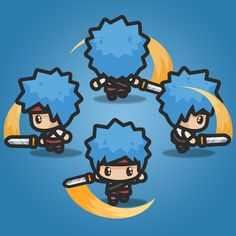 4 Directional Blue Hair Guy