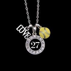 Custom Number Softball Necklace