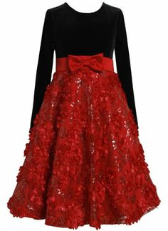 * GIRL PLUS SIZE 12.5-20.5 * Red Black Velvet Sequin Floral Bonaz Mesh Overlay Dress RD8MH Bonnie Jean Girl Plus-Size Special Occasion Flower Girl Holiday Social Party Dress