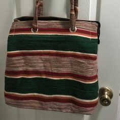 Cute sturdy cloth bag. Stripped sturdy double strap bag. Multi uses.14x19 wide bottom 6 1/2 in. No tags or labels, also has an inside pocket. Bags