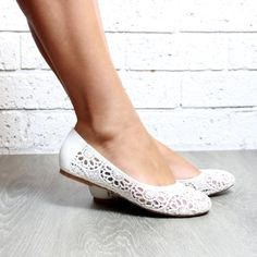Lace White Ivory ballet flat Shoes White Flats by ForeverSoles #bridalCouture
