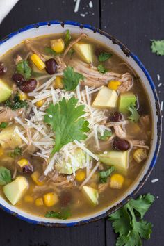 So healthy and simple Crockpot soup! Salsa verde chicken with lots of customization options #soup #cleaneating