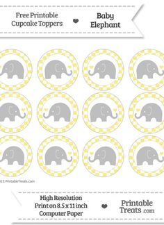Free Pastel Yellow Checker Pattern Baby Elephant Cupcake Toppers