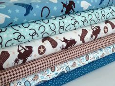 Western Fabric Bundle, Riley Blake Fabric Bundle, Roundup & Rodeo Rider, Fat Quarter, Half Yard, One Yard, Blue Cowboy Fabric, Boys Fabric by AnnadaisysFabrics on Etsy https://www.etsy.com/listing/243491733/western-fabric-bundle-riley-blake-fabric