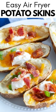 Air Fryer Potato Skins are the perfect appetizer for a party or gathering! Crispy potato skins filled with your favorite toppings. So easy to make in the air fryer! #airfryerpotatoskins #airfryerpotato Air Fryer Recipes Easy, Easy Appetizer Recipes, Yummy Appetizers, Snack Recipes, Potato Recipes, Easy Recipes, Dinner Recipes, Cheap Recipes, Protein Recipes