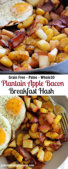 Sweet Plantain Apple Bacon Breakfast hash - With fried Eggs - #paleo #grainfree #glutenfree #whole30 #dairyfree