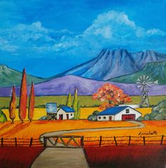 Farmhouse three trees-by Annabelle South African Artist for Innibos Art Festival 2014 Landscape Quilts, Landscape Art, Landscape Paintings, Farmhouse Paintings, Mosaic Pictures, South African Artists, Cottage Art, Naive Art, Windmills