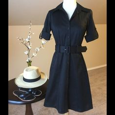 Classy Black Dress Versatile dress from Ann Taylor. Can be worn casually or dressed up. Cotton with spandex. Usable side pockets. This is a petite size. Ann Taylor Dresses