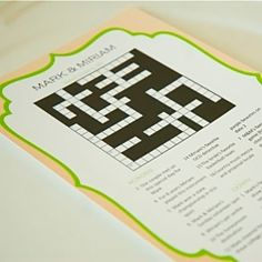 While you wait... :) A homemade crossword about the bride and groom