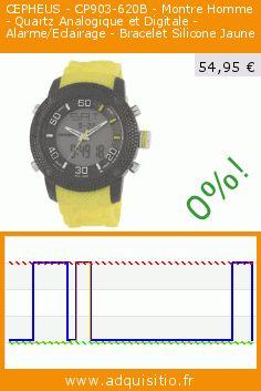 CEPHEUS - CP903-620B - Montre Homme - Quartz Analogique et Digitale - Alarme/Eclairage - Bracelet Silicone Jaune (Montre). Réduction de 72%! Prix actuel 54,95 €, l'ancien prix était de 199,00 €. https://www.adquisitio.fr/cepheus/cp903-620b-montre-homme