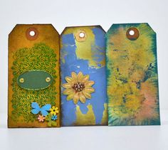 A Set of 3 Tags, ideal for Scrapbooking Embellishments and Gifts. The size of the tags are 2 Special distress techniques with Tim Holtz Inks, Acrylic Paints, Glimmer mist. Note: Fee Delivery for Polokwane SA Selling On Pinterest, Scrapbook Embellishments, Christmas Tag, Tim Holtz, Gift Tags, Greeting Cards, Scrapbooking, Etsy Shop, Unique Jewelry