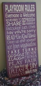 Playroom Rules Subway/Typography Word Art Sign by kshopa on Etsy, $45.00