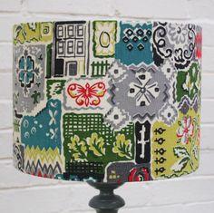 Barkcloth Lampshade, love it!