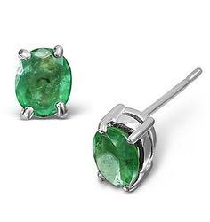 Emerald 5 x 4mm 18K White Gold Earrings - Item FEG23-GY