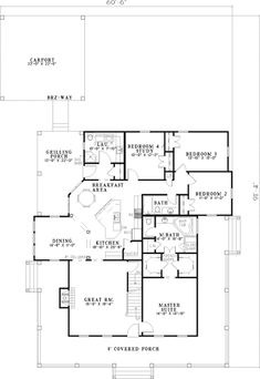 Casolone Ridge floor plan, first floor.  Family room and master in front of house.