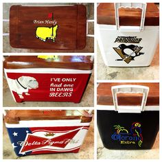 Painted fraternity cooler...  Top: Masters golf logo Front: UGA dawgs  Side: Corona neon sign  Side: Pittsburgh Penguins NHL  Back: Delta Sigma Phi Budweiser logo