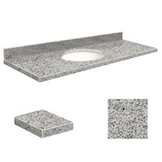 Transolid Rosselin White Granite Undermount Single Sink Bathroom Vanity Top (Common: 61-in x 22-in; Actual: 61-in x 22.25-in)