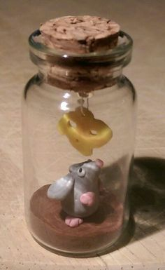 Polymer clay bottle charm, mouse and cheese