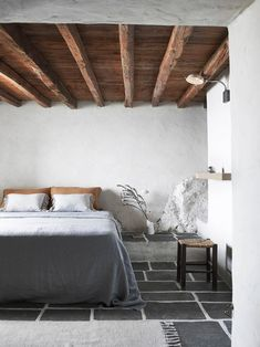 Serene bedroom with wooden ceiling