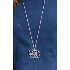 Silver Rain Optical Illusion 3 D Locked Cubes Geometric Necklace ($18) ❤ liked on Polyvore featuring jewelry, necklaces, silver tone jewelry, geometric necklace, lock necklaces, long necklaces and long silver necklace
