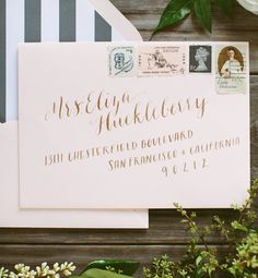Oh So Beautiful Paper: Envelope Inspiration: Calligraphy and Vintage Stamps | Calligraphy by The Weekend Type