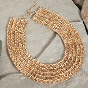 Gold Mesh Statement Necklace