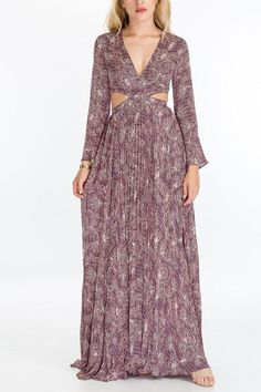 Features a cutout waist Hidden back zipper. Polyester Model is and is wearing size Small Pleated bottom Long sleeves Purple, Long Sleeve, Model, How To Wear, Dresses, Products, Fashion, Vestidos, Moda