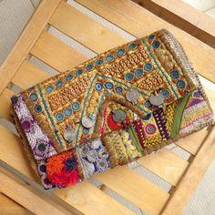 Batala Clutch Vintage OOAK banjara fabric clutch by rossioroos