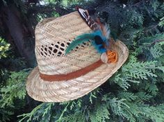 Summer hats feather edition with leather strap gamzegedesignstudio.com