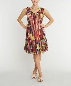 Red & Yellow Abstract Sleeveless Dress #zulily #zulilyfinds