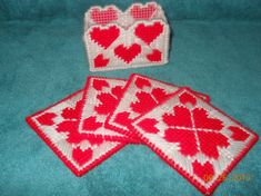Heart Coasters in Plastic canvas by SpyderCrafts on Etsy, $6.00