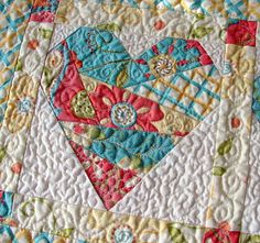 Patchwork heart table runner... so cute! love all of this: color, heart and the quilting.