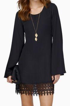 Simple Scoop Neck Long Sleeve Laciness Solid Color Women's Shift DressLong Sleeve Dresses   RoseGal.com
