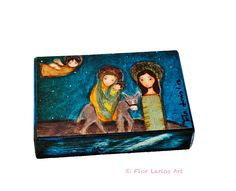 The Flight into Egypt - Giclee print mounted on Wood (5 x 7 inches) Folk Art  by FLOR LARIOS by FlorLarios on Etsy https://www.etsy.com/listing/209834436/the-flight-into-egypt-giclee-print