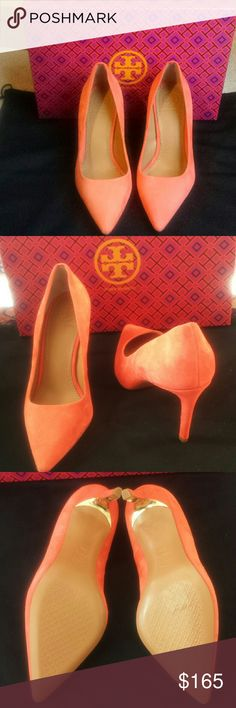 Tory Burch pumps Tory Burch Elana suede pumps. 85mm in poppy red, which is more coral than red. Tory Burch Shoes