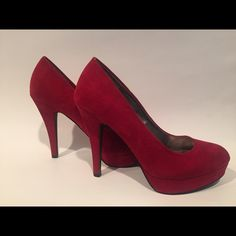 SALE $16!!! Red Suede Platform Pumps Red suede pumps. 4 1/2 inch heel. Maurices Shoes Heels