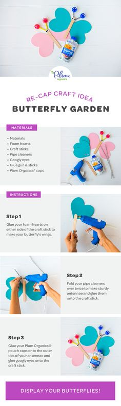 Snack time turns into craft time when you upcycle your Plum Organics® pouch caps into beautiful butterflies with this easy, DIY tutorial. Craft Stick Crafts, Fun Crafts, Toddler Arts And Crafts, Plum Organics, Infant Classroom, Amazing Crafts, Beautiful Butterflies, Teacher Stuff, Paper Crafting